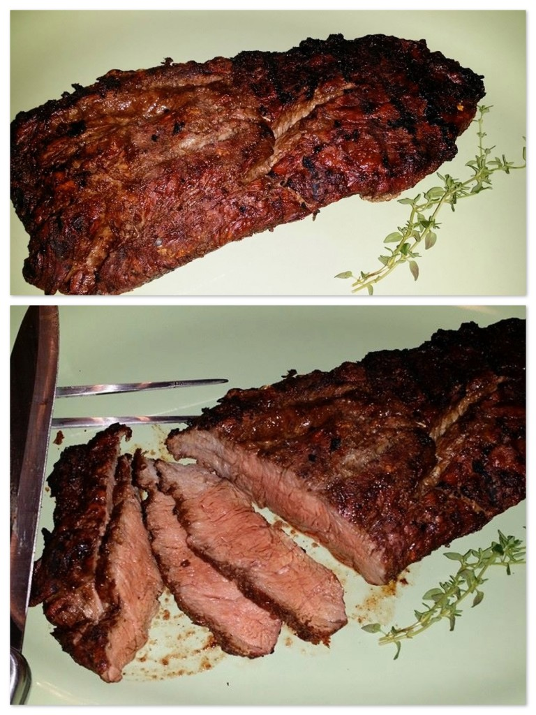 Flank steak cooked collage