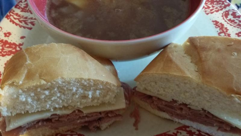 French dip sandwich with homemade onion soup