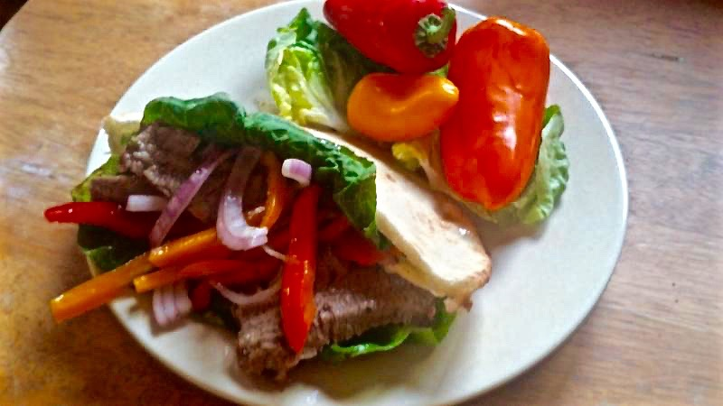 Healthy Mediterranean steak sandwich