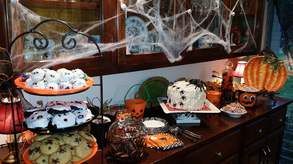 Halloween buffet with lots of fun goodies