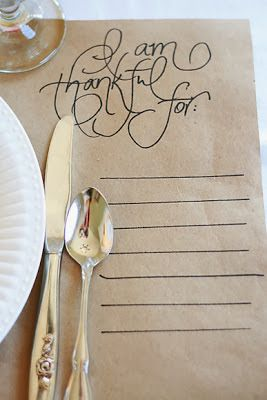 I am thankful for place setting