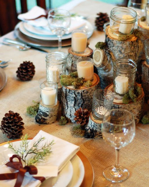Wood stump centerpiece