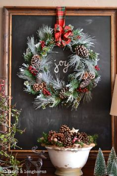 Chalkboard with Christmas wreath