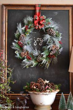 Chalkboard with Christmas wreath