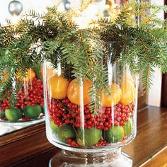 Fruit and greenery vase