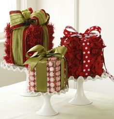 Christmas centerpiece using kleenex boxes