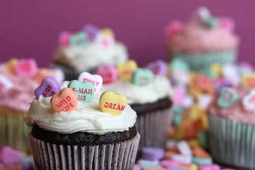 conversation heart cupcake