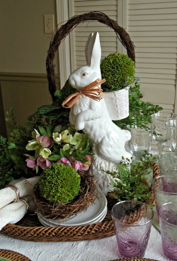 Ceramic bunny centerpiece with moss