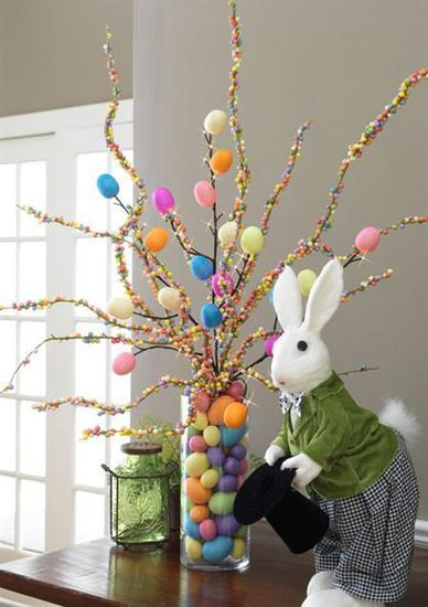 Colorful Easter eggs centerpiece
