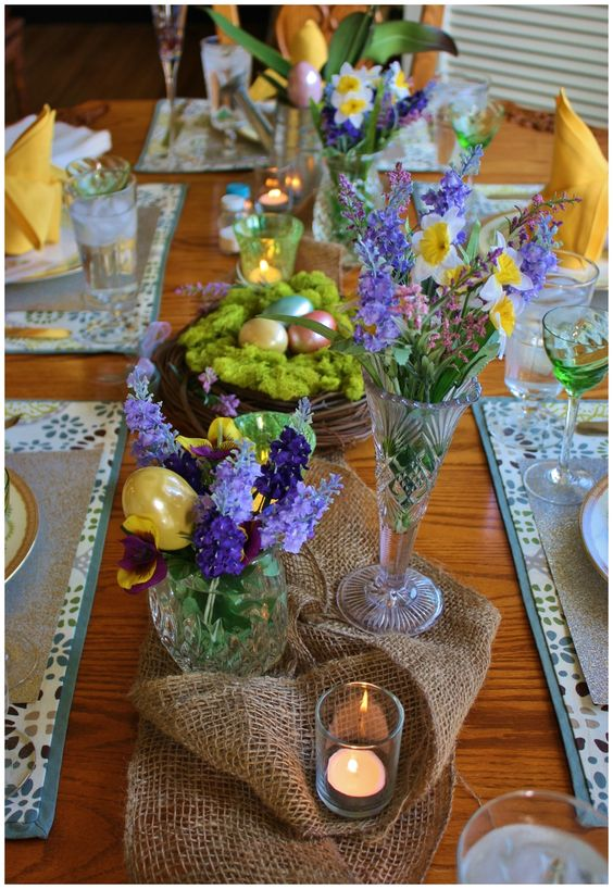 Easter centerpiece with spring flowers and burlap