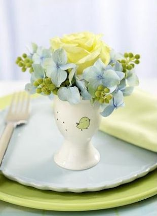 Egg cup flower arrangement