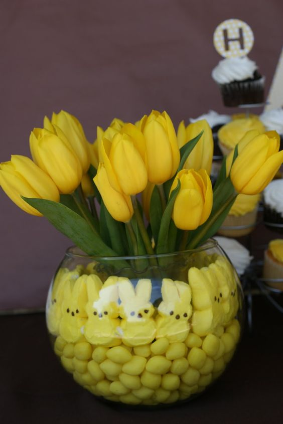 Yellow peep flower arrangement