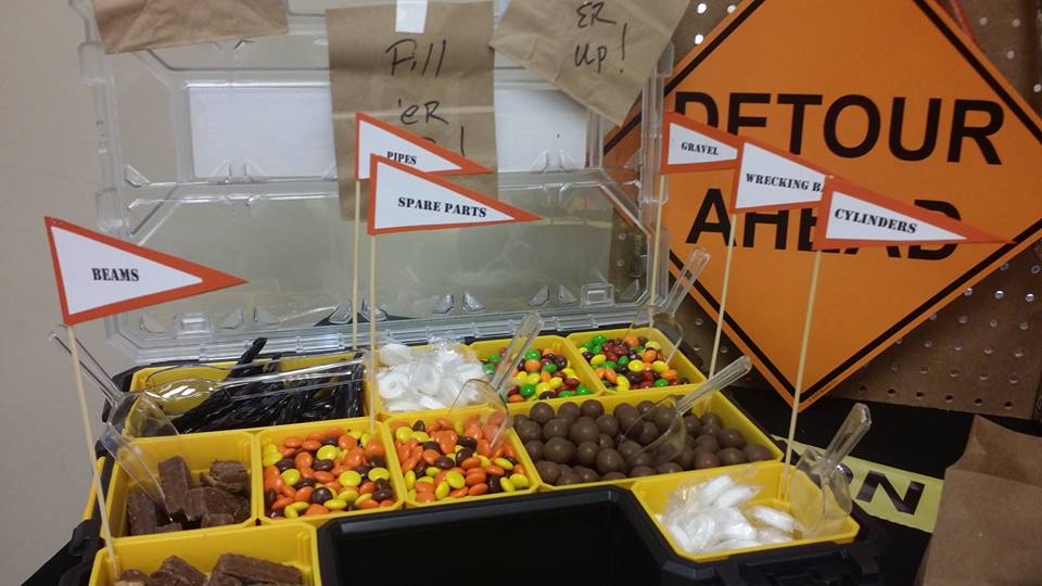 "Construction themed candy bar ""fill 'er up"""