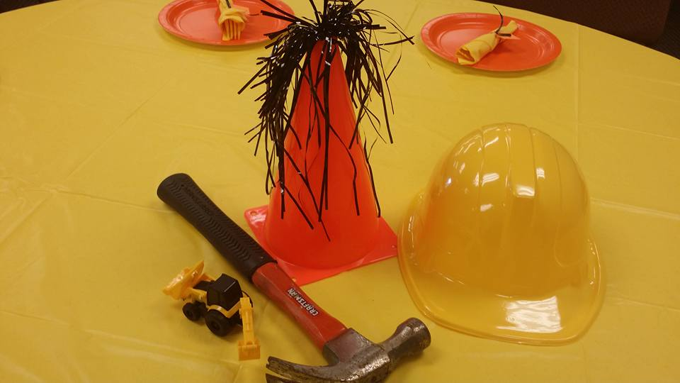 Construction themed centerpiece