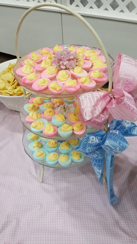 Gender reveal deviled eggs BBQ theme