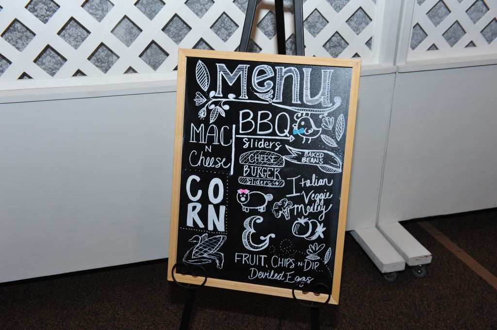 BBQ Gender Reveal chalkboard menu