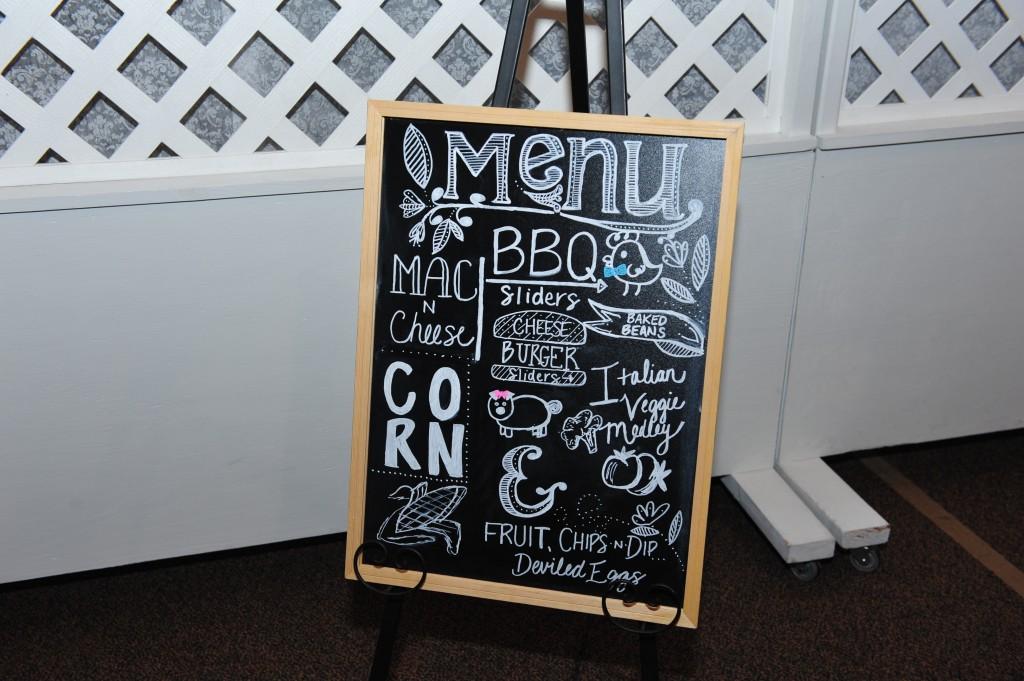 BBQ Gender Reveal chalkboard menu