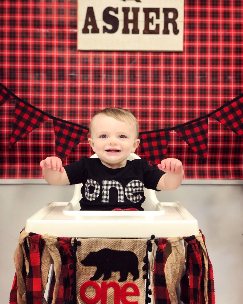Asher in high chair 2 *
